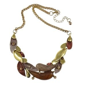 New Enamel Rhinestone Accent Brass Leaves Necklace